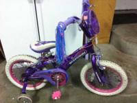 "Call or text  This girl's purple & pink, 16"" Schwinn"