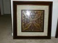 "30"" Framed art, brown and bronze with 3D Celtic knot"