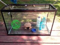 30 Gallong critter tank with three water bottles, hut