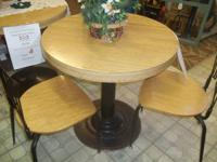 "30"" Pedestal Table with 2 chairs. $70.00 Chairs are"