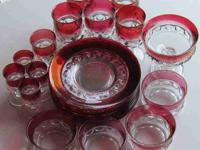 23-PIECE RUBY KING'S CROWN GLASSWARE SET 8 Plates four