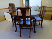 """This 48"""" round all wood Queen Anne table, 4 chairs,"""