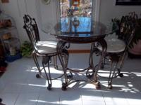 Solid Wrought Iron Pub Set, Glass Top Table and Two