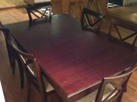 Dark wood dining room table with 6 chairs for sale.I am
