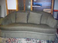 "OLIVE GREEN SOFA MEASURES 72"" LONG X 32""TALL IT HAS 2"