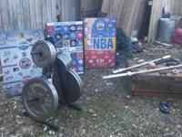 Like new weights and bars curly olympic bars 300