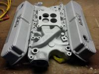 A very nice aluminum 4bl intake and Holley finned
