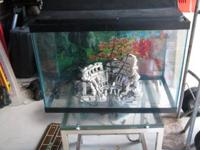 30 gallon aquarium with cool glass and metal stand.