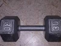 Selling a 15lb curl bar with four 10lb plates, and two