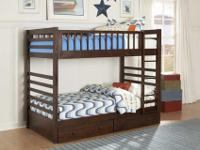 Dreamland Solid Wood Twin Twin Bunk Bed with Storage