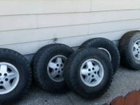 Set of four 32x11.5 Mud Terrain tires and one 33x9.5