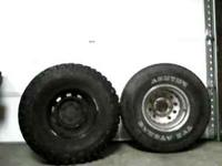 set (4) black rims 6 lug nut with bad tires set (4) bad