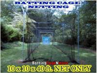 Batting Cage Baseball ? Softball Netting #21 10 H. x 10
