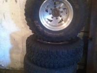 4 16.5 8 lug american racing rims with 4 tires