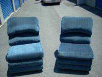 These are 2 big blue fabric chairs (part of a 6 piece