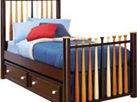 We purchased this baseball bed at Rooms To Go Kids