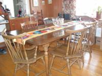 Pecan wood table with five chairs (one captain's chair