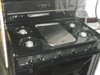 "Black Stainless Steel Top Center Pc.. 36"" Gas Stove"