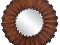 This unique round mirror is finished in a Faux Walnut