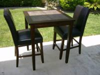 "36"" Tall Tile Top Pub Table & 2 - 24"" Leather Barstool"