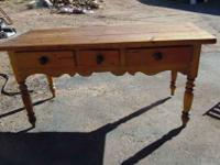 Nice Rustic Wood Table. Works well in the kitchen,