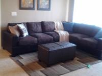 Selling brown microfiber sectional, Dining room table,
