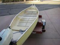 six feet fiberglass, square back Canoe. This is a very