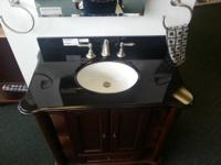 36x21 Bathroom Vanity in Dark Cherry37x22 Black Granite