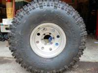 One (1) 38.5x11x15lt Super Swamper Tire - mounted and