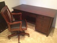 Solid wood desk purchased at Haverty's Furniture and