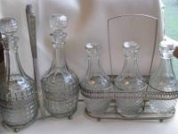 "Vintage. Made in England. 2 Wine Decanters (11""H) in"