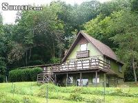 1 Little Vineyard is a rustic cabin with a huge deck,