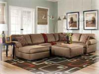 "The ""Brody"" sectional can be configured with chaise on"