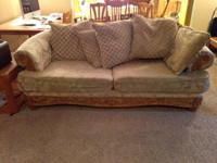 Tan patterned fabric couch, love seat and chair.  Used,