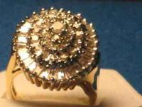 Lady's 3 cttw Diamond Oval Shaped Cluster Ring. Set in