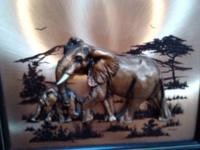 John Louw signed 3D copper image of a mommy elephant