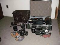 anon cameras , many lens and flashes, case, a lot of