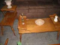 Nice vintage 3pc coffee and 2 end tables in good