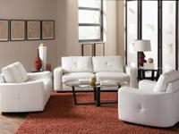 (C). This leather love seat will certainly make a