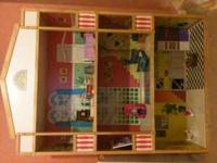 Excellent condition 4 1/2ft Pine Wood Doll House. Comes