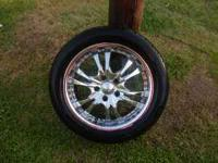 4 17 inch Chrome Rims, like new, with tires around 98%