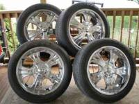 4 20 inch Chrome Wheels with Goodyear Eagle GT2 tires.