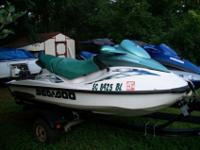 2 2001 JET SKIS, SEA DOOS WITH D TRAILOR, BOTH ARE 3