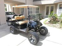 2008 EZGO Custom 36V Golf Cart Black paint job is a