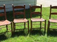 Primitive Oak Ladder Back Woven Seat Chairs. All in