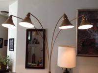 4 arm Arc Floor Lamp, beige with red & black