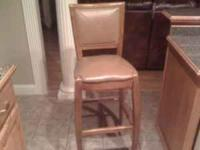 4 Barstools For Sale, 30 inch. Brown wood and leather.
