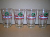 4 Budweiser 16oz glasses. Very good condition. Call .