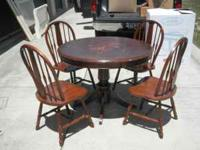 4 Wood chairs & table call me at  Location: