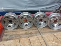 4 Chrome rims, 15x7, 23/4 Center to Center, 5 Hole.